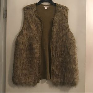 Faux fur vest...only worn once!!